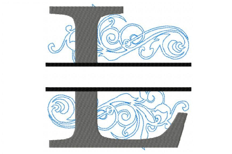 Embroidery Fonts Split Monogram, Monogram L, 4X4 5X7 6x10 example image 1