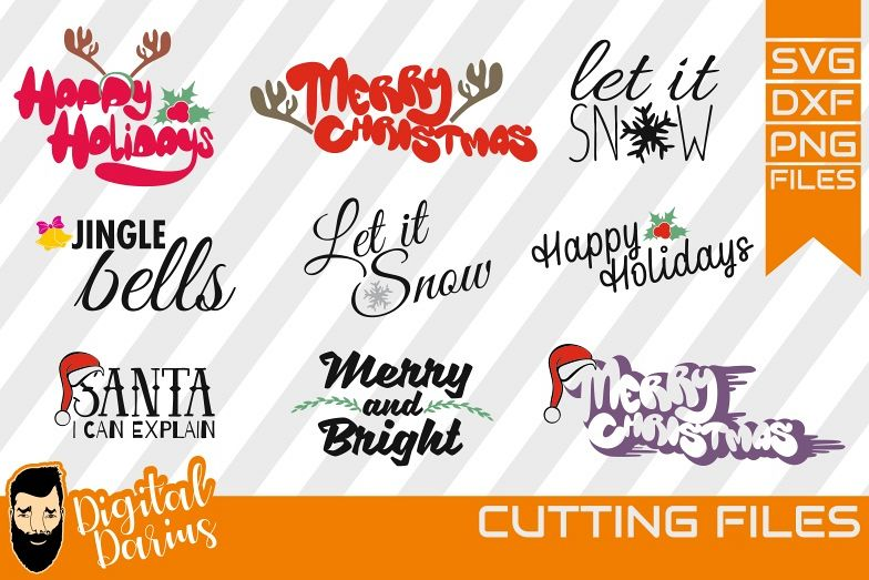 9x Christmas Bundle SVG, Let it snow svg. Merry Christmas example image 1