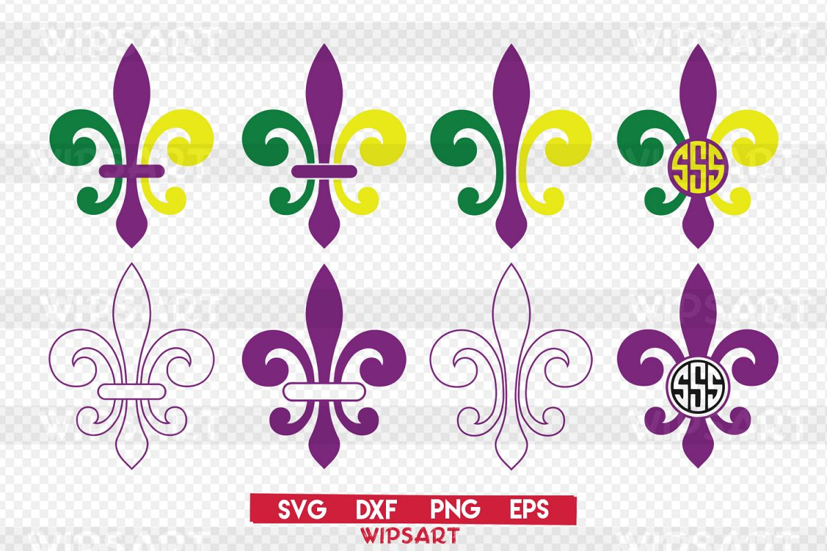 SALE! Mardi gras svg, fleur de lis svg, mardi gras monogram example image 1