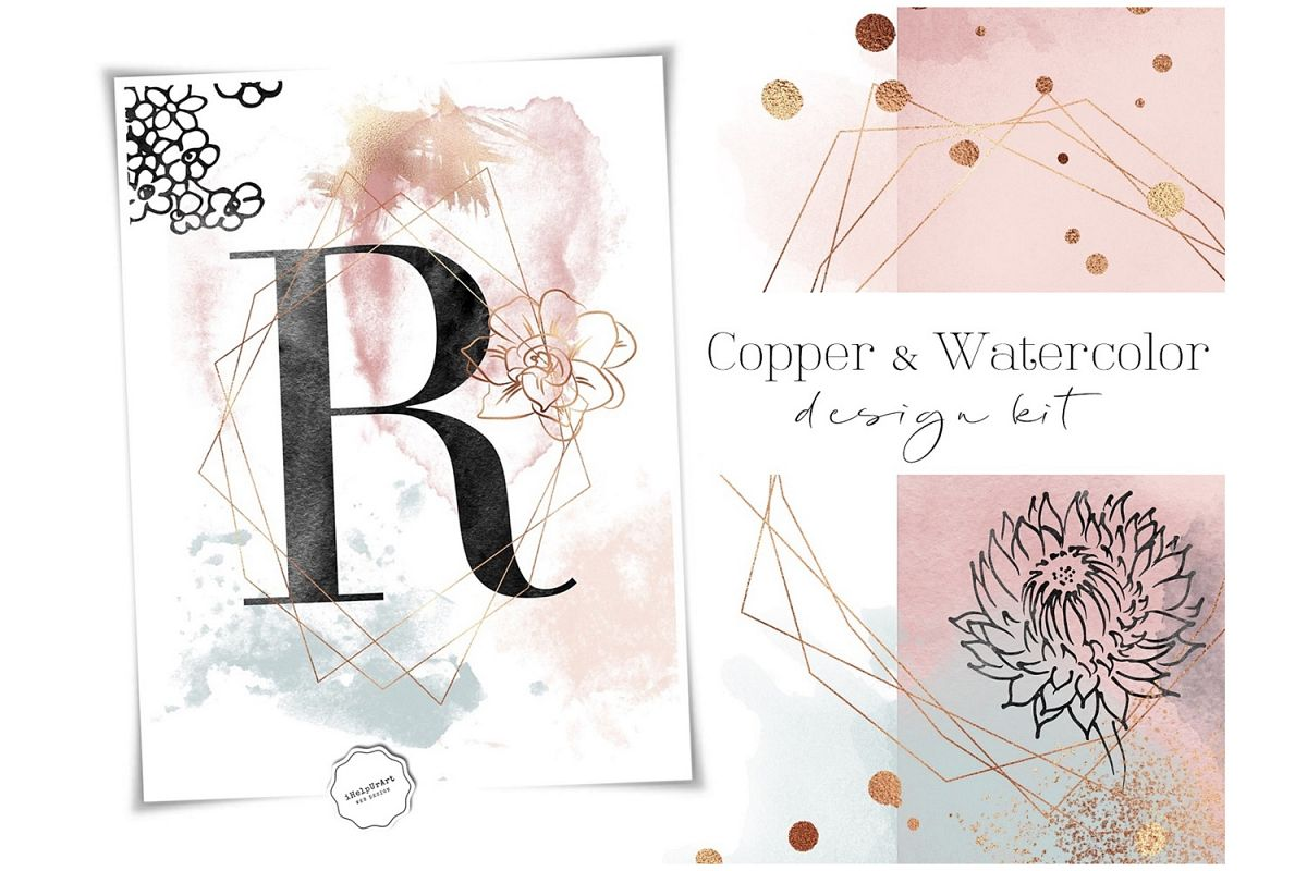 Copper and Watercolor Design Kit example image 1