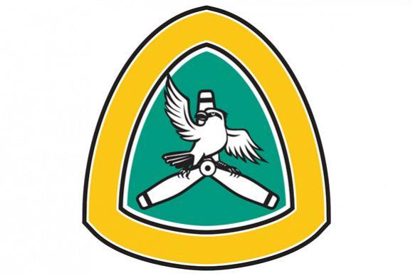 Shrike Perching Propeller Blade Crest Retro example image 1