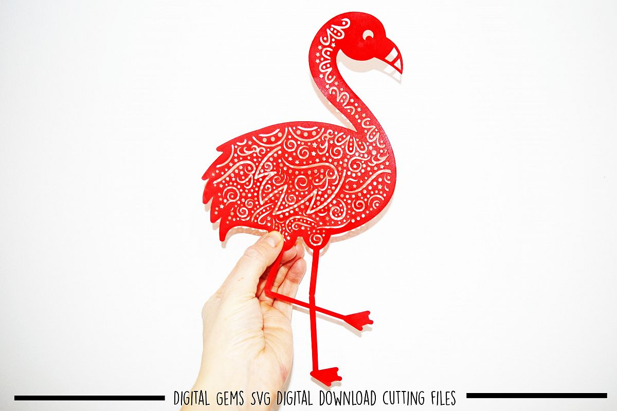Flamingo paper cut SVG / DXF / EPS files example image 1