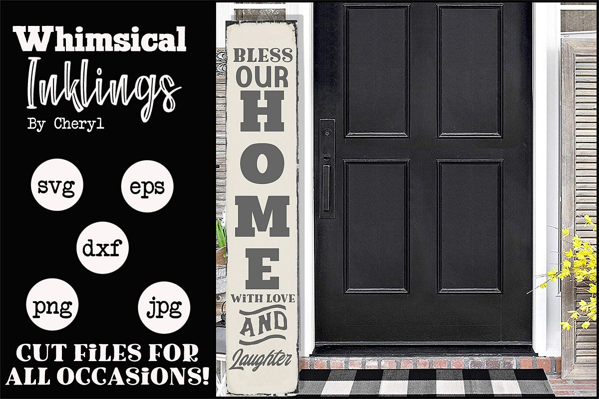 Bless Our Home-Vertical Welcome SVG example image 1
