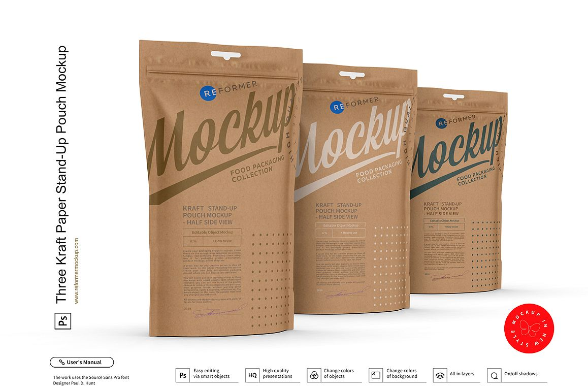 Three Kraft Paper Stand-Up Pouch Mockup example image 1