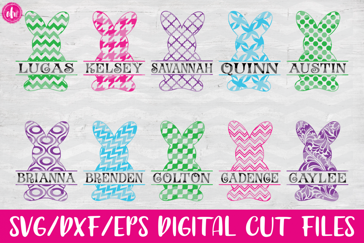 Pattern Split Easter Bunny Set - SVG, DXF, EPS Cut Files example image 1