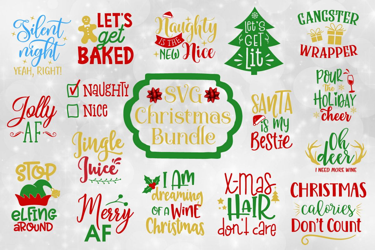 Funny Christmas Images.Funny Christmas Quotes Bundle Svg Eps Dxf Png