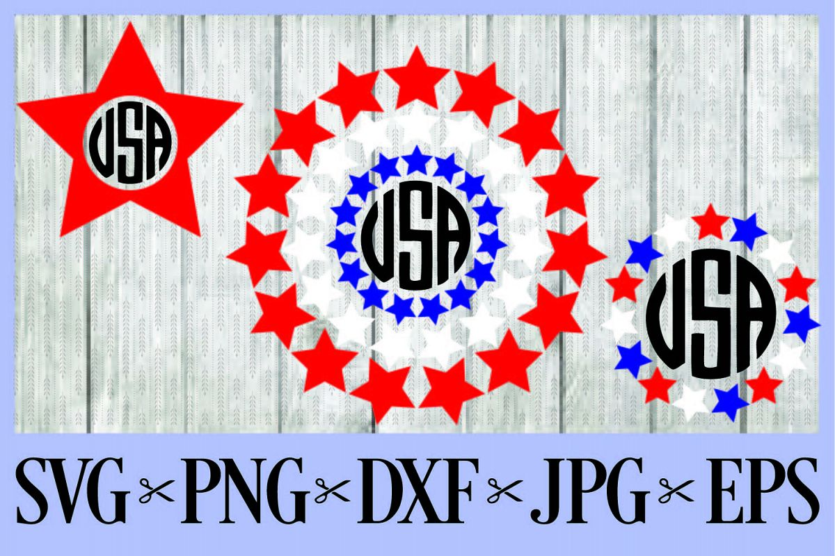 July 4th Independence Day Monogram Frames Red White Blue Svg Png