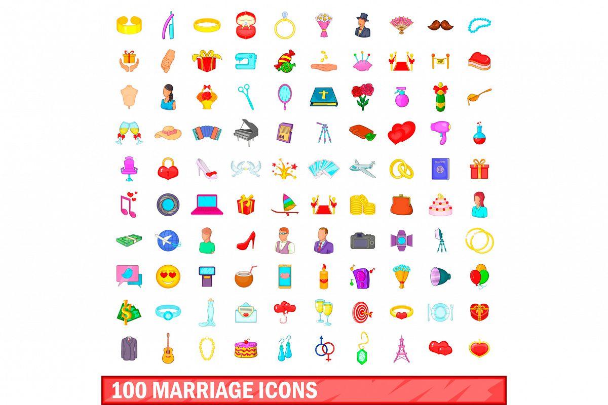 100 marriage icons set, cartoon style example image 1