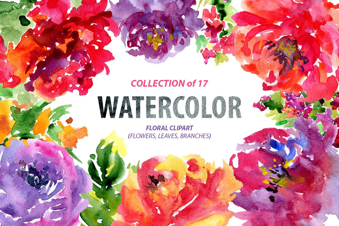 Bright watercolor flowers, 17 png example image 1