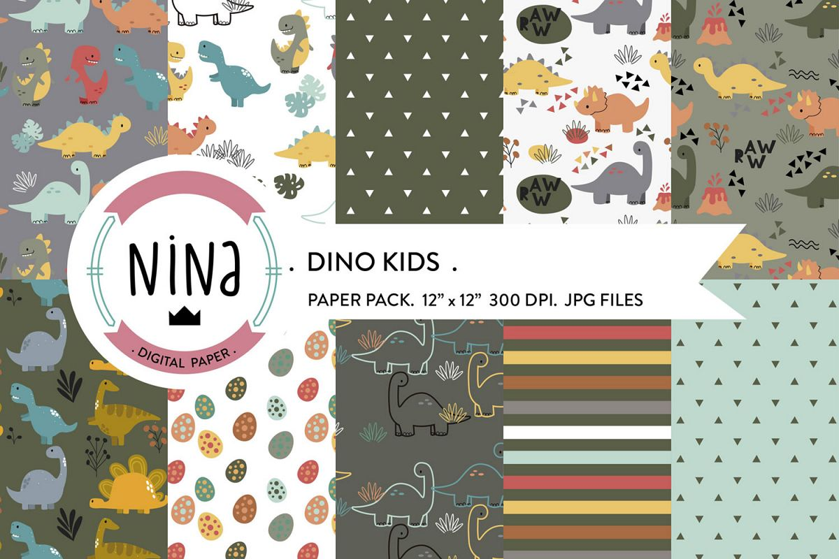 Dinosaur digital paper, dinosaur background, kids scrapbook example image 1
