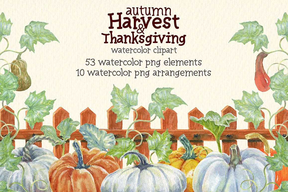 watercolor autumn, harvest and thanksgiving clipart example image 1