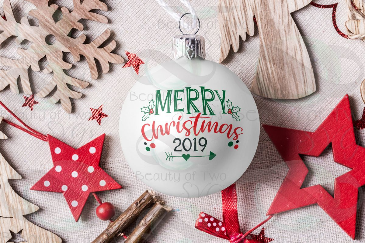 Merry Christmas 2019 Ornament svg, Christmas svg, Ornament example image 1
