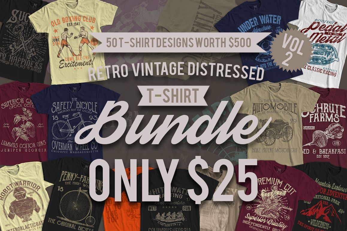 50 Retro Vintage T Shirt Designs Vol 2