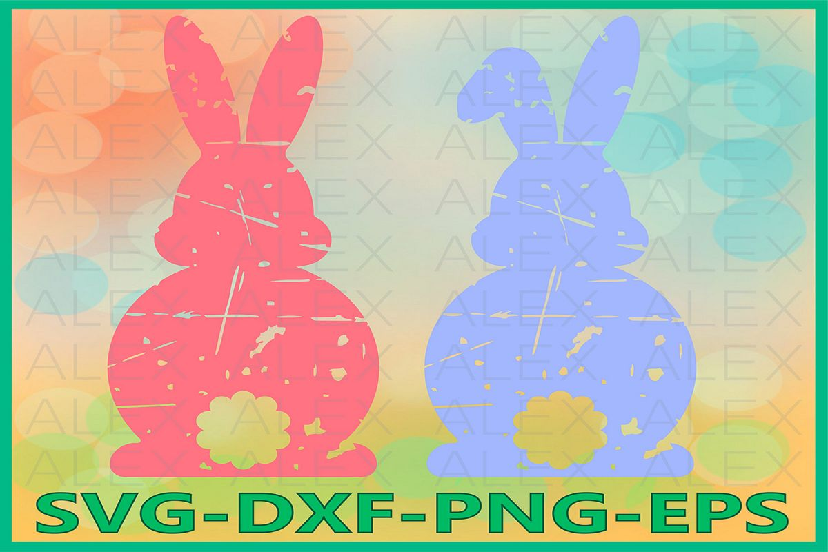 Easter Bunny svg, Bunny Grunge Svg, Distressed Easter SVG example image 1