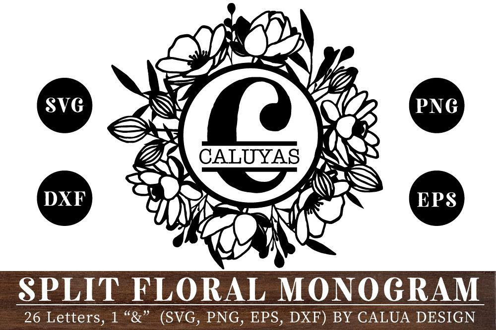 Split Floral Monogram Cut File Bundle example image 1