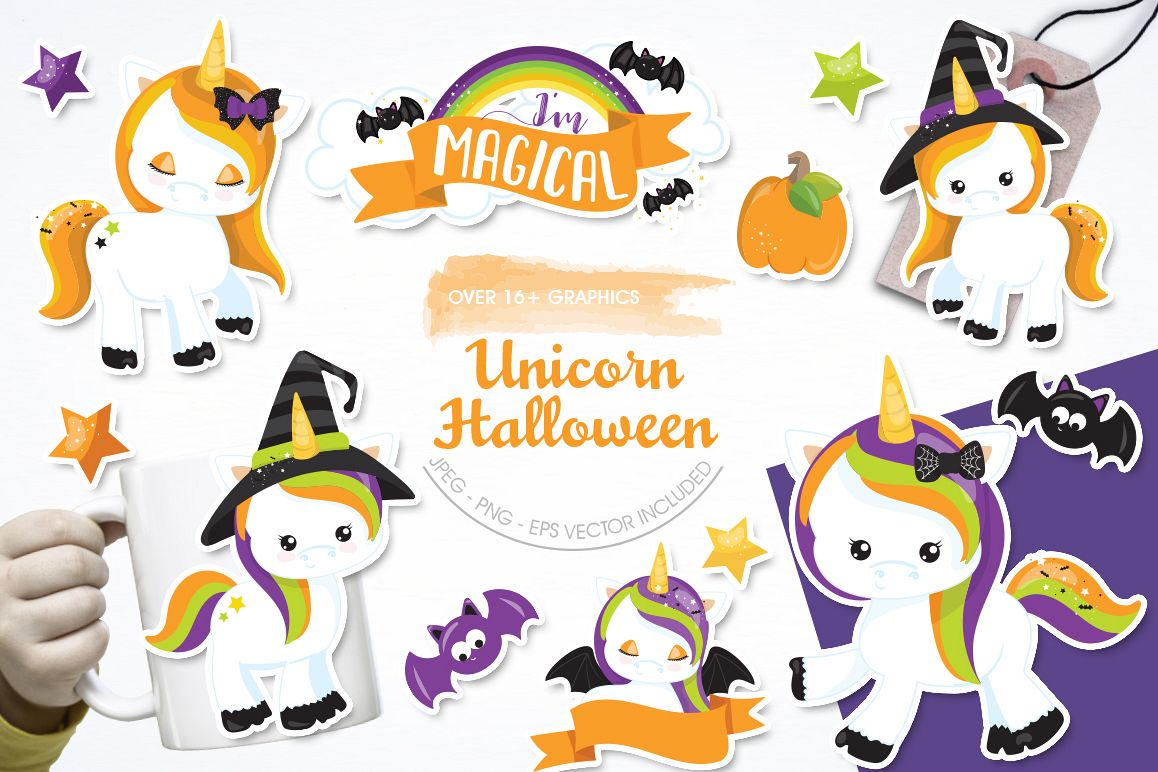 Unicorn Halloween graphic and illustrations example image 1