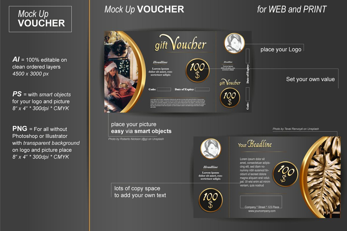 Template - Gift Voucher - Noble Gold example image 1
