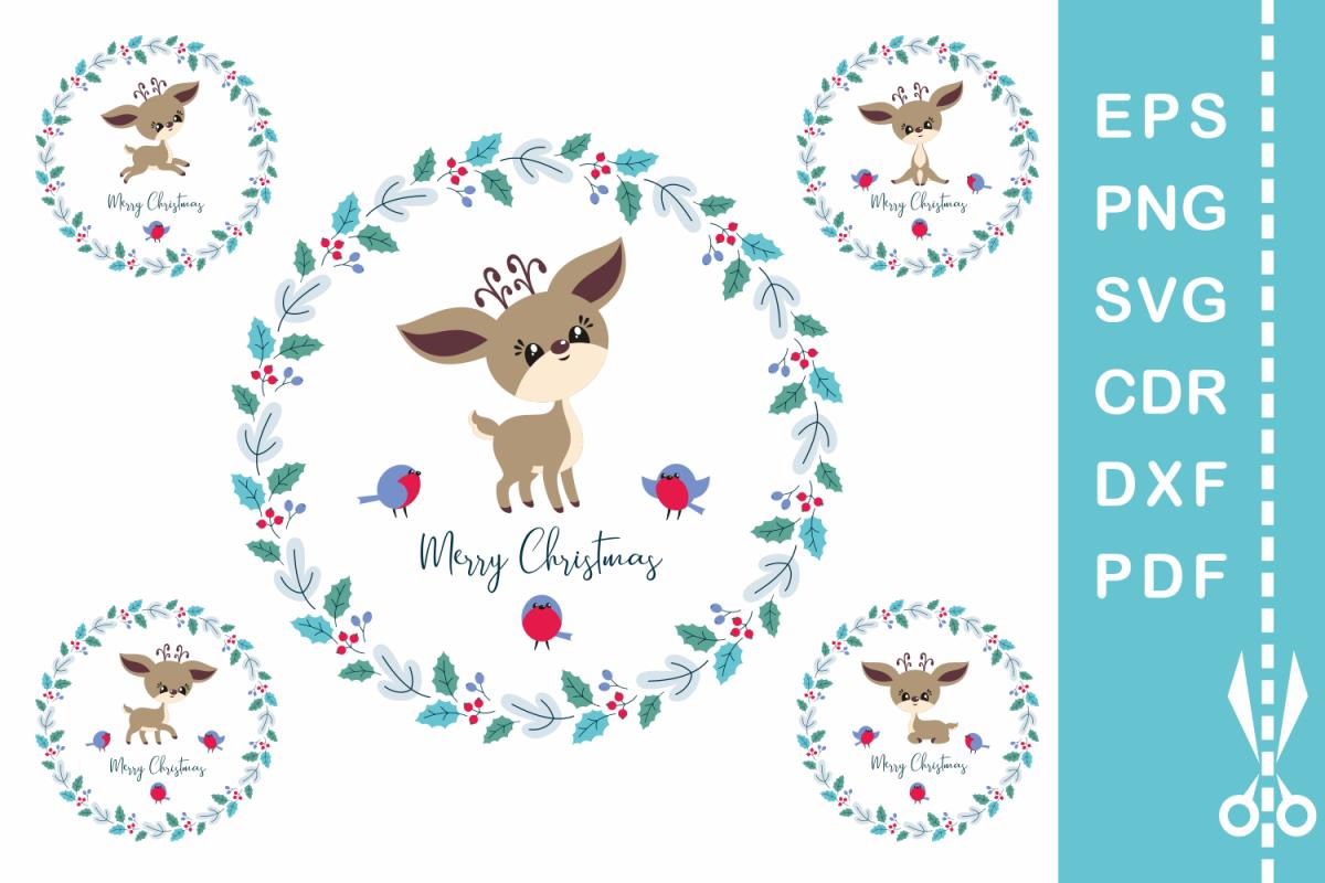 Cute Christmas.Cute Christmas Deer Cutting Files Set