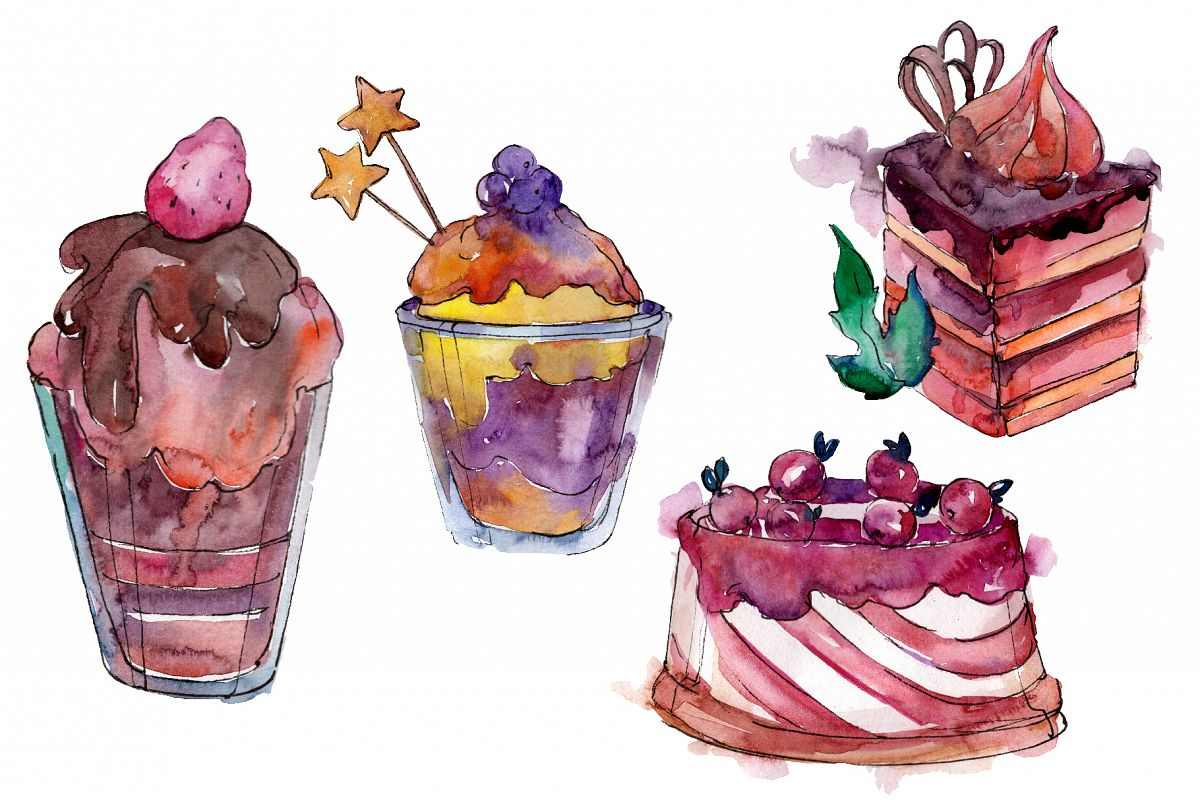 Spring dessert Watercolor png example image 1