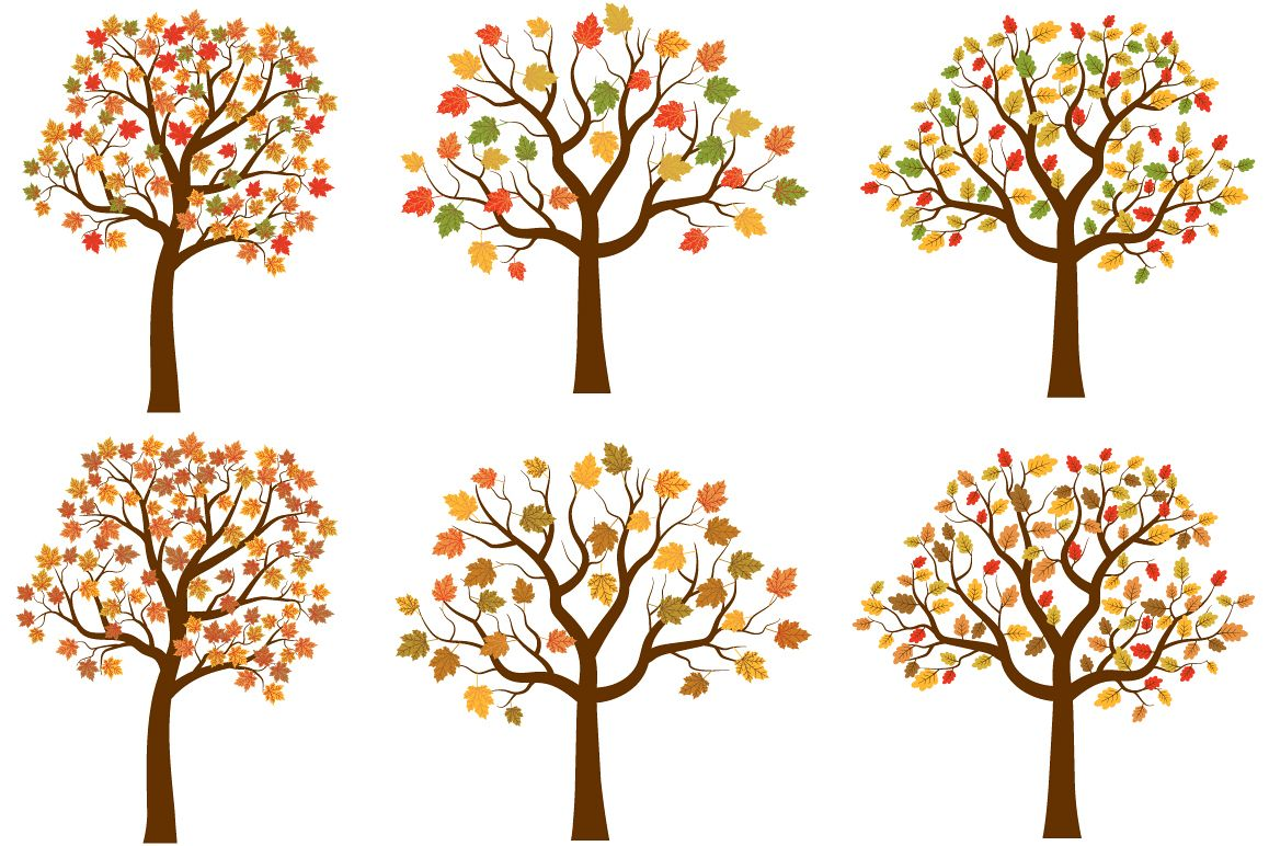 Autumn trees clipart set, Cute fall tree red yellow leaves ...