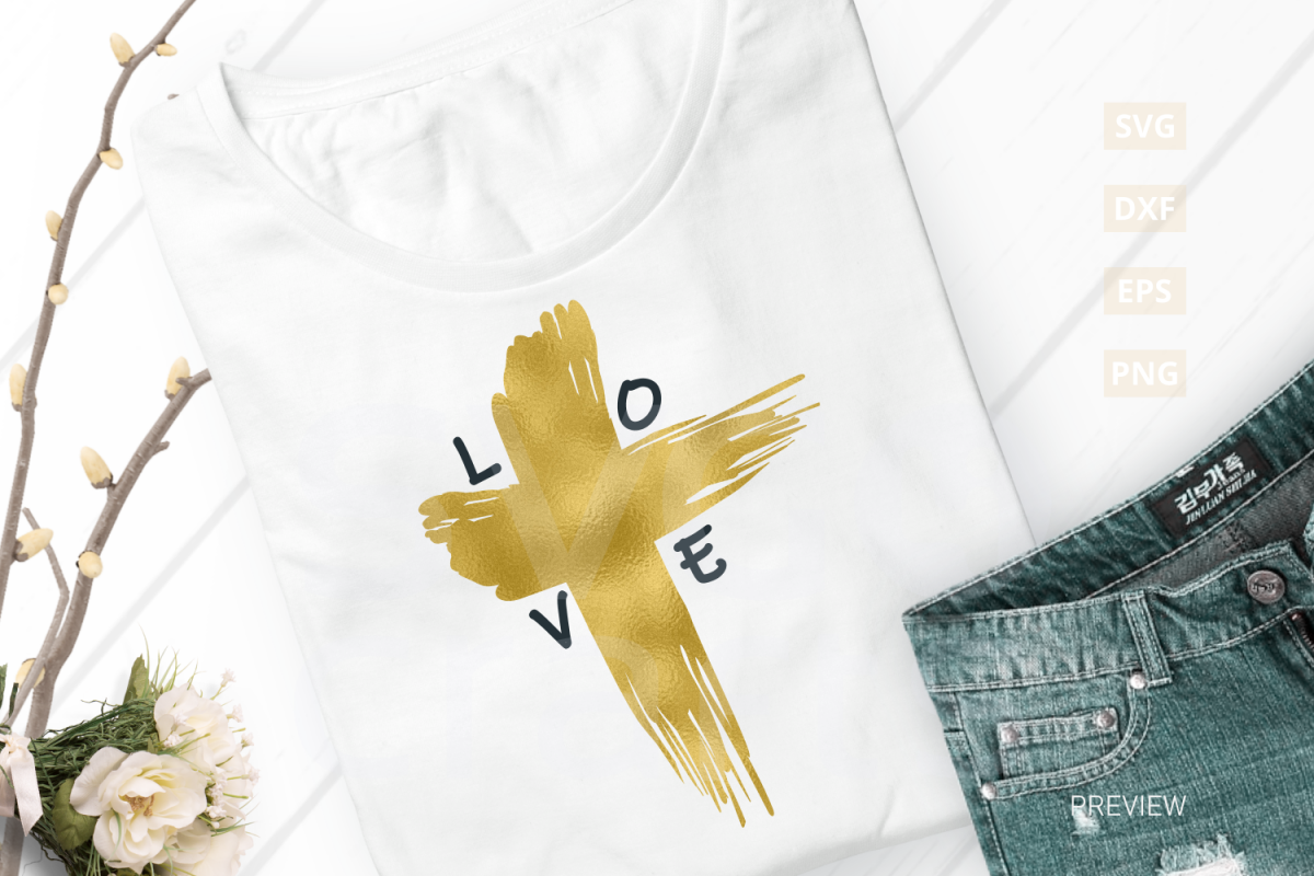 Easter Love Cross SVG Cut File, svg, dxf,eps, png example image 1