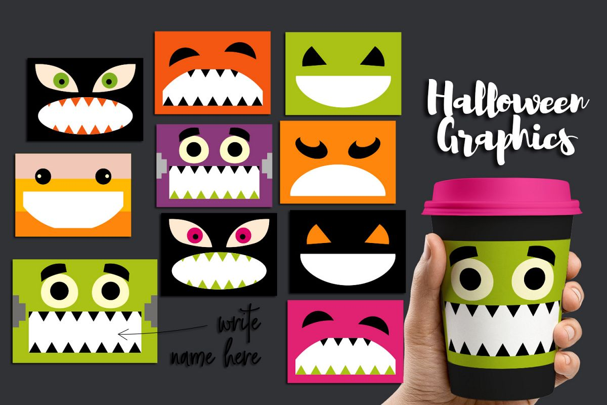 halloween party name tags clipart graphics example image 1