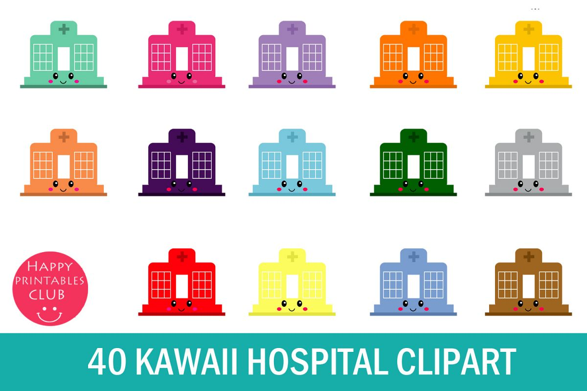 40 Kawaii Hospital Clipart- Hospital Clipart- Cute Hospital example image 1