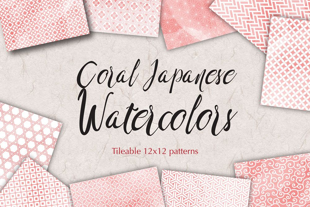 Coral Pink Digital Paper Japanese Background Patterns example image 1