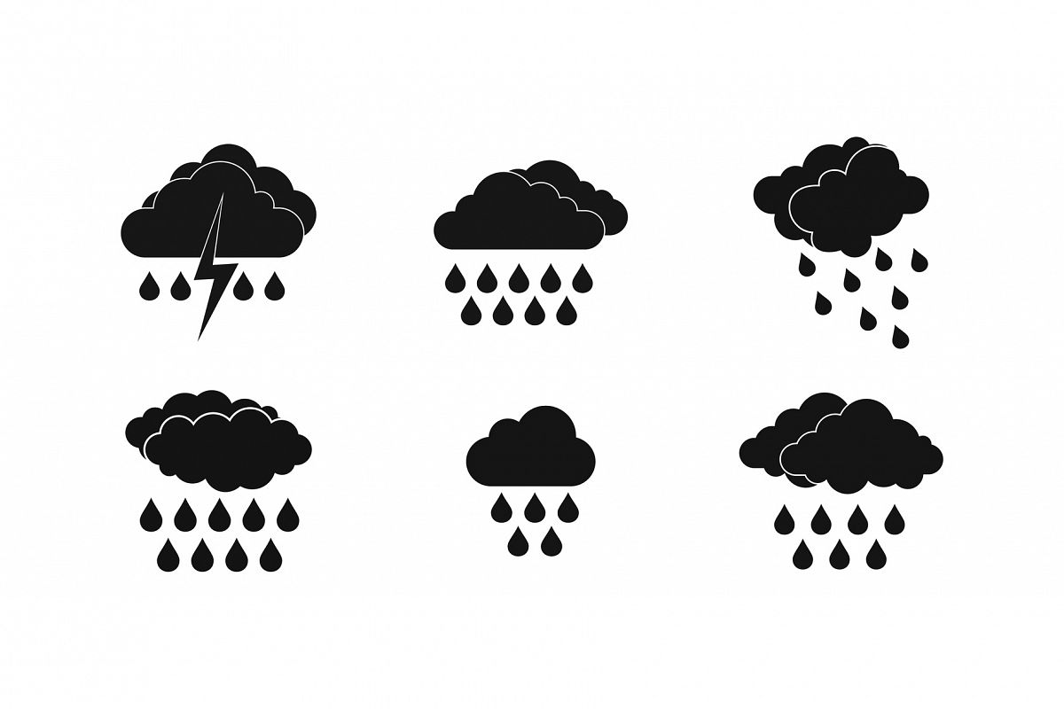 Rainy cloud icon set, simple style example image 1
