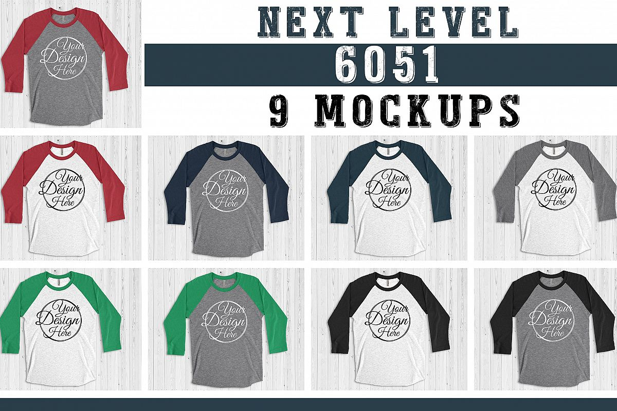 BUNDLE 9 Mockups Next Level 6051 3/4 Sleeve Vintage Multi Co example image 1