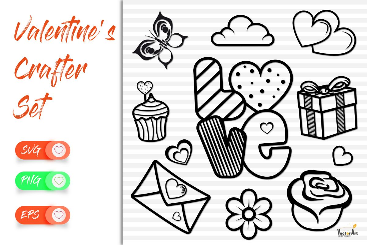 Love and Valentine - 11 Elements - Cut files example image 1