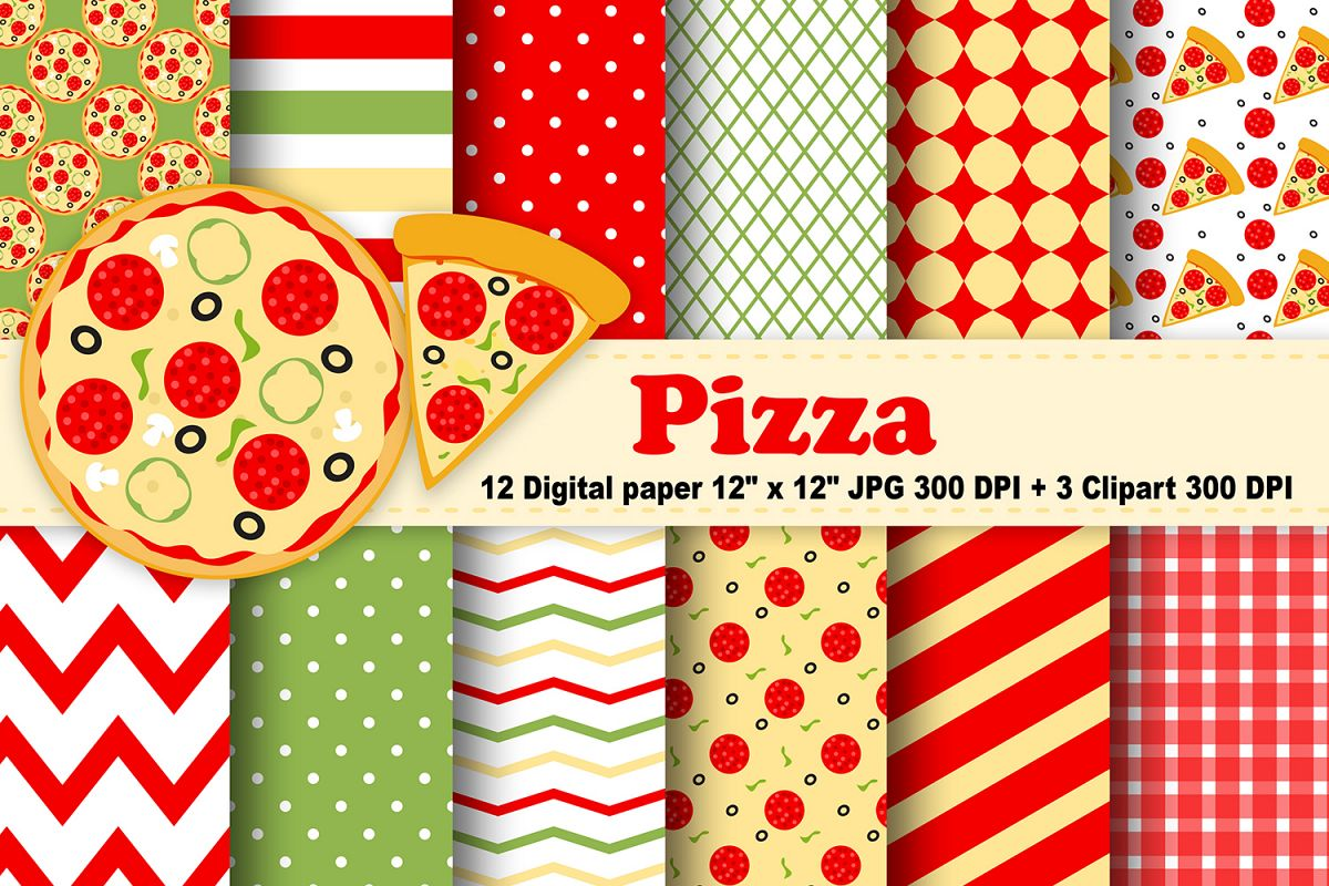 Pizza digital paper food background fast food pattern food printable digital scrapbook