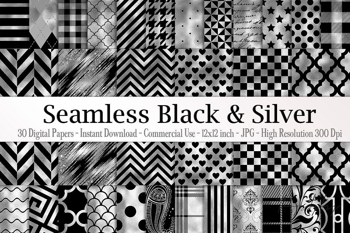 30 Seamless Black Silver Foil Basic Home Decor Print Pattern example image 1