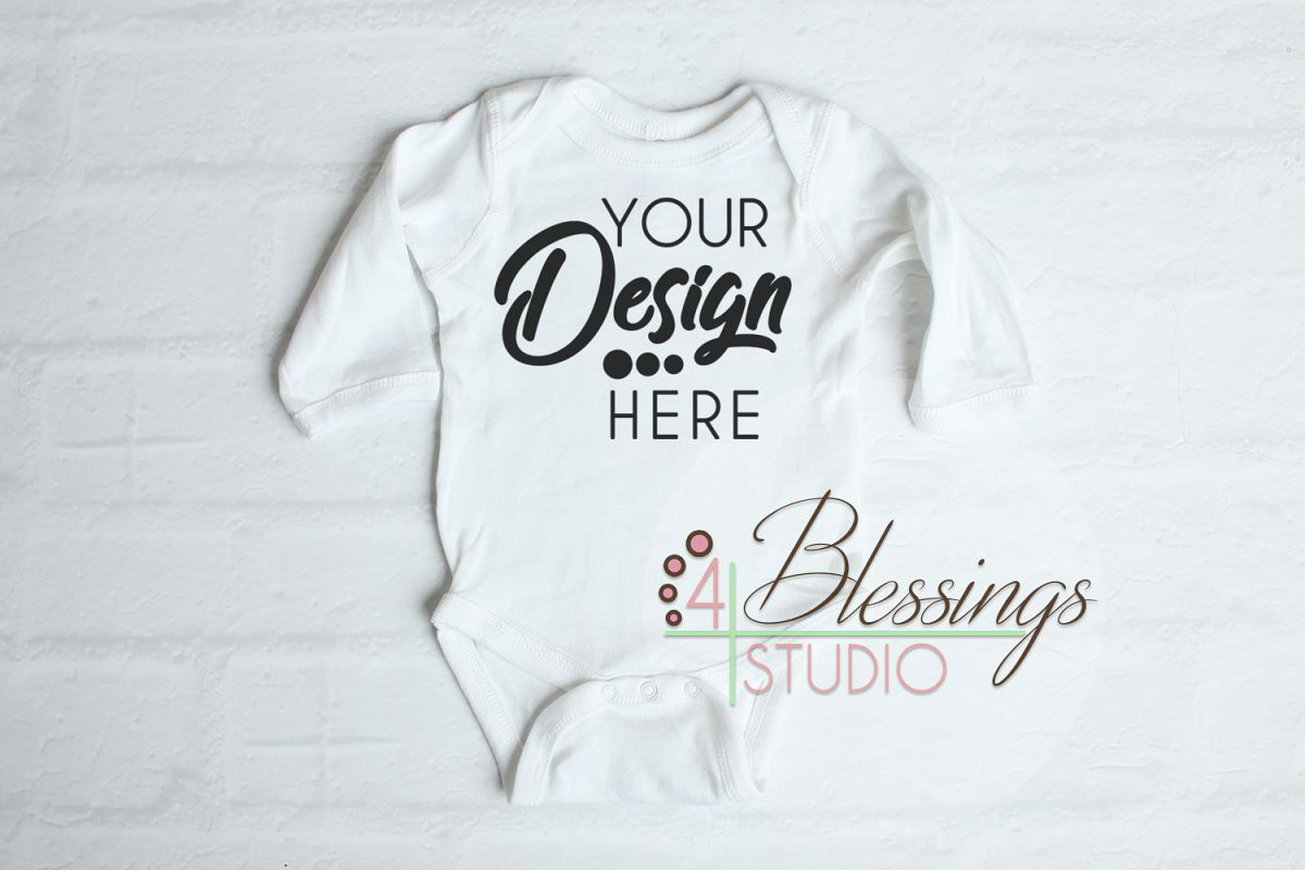 f2a751e76 Baby Shirt Mockup White One piece bodysuit Long Sleeve example image 1