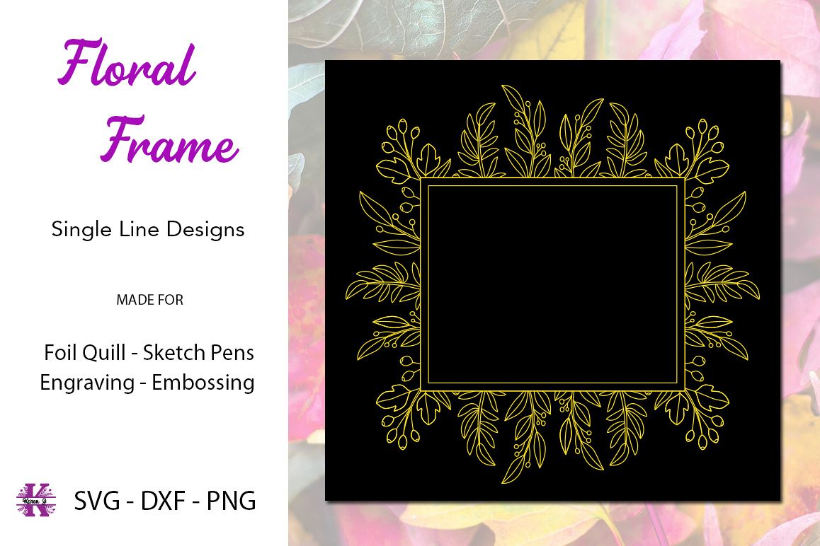 Floral Frame for Foil Quill|Single Line Design example image 1