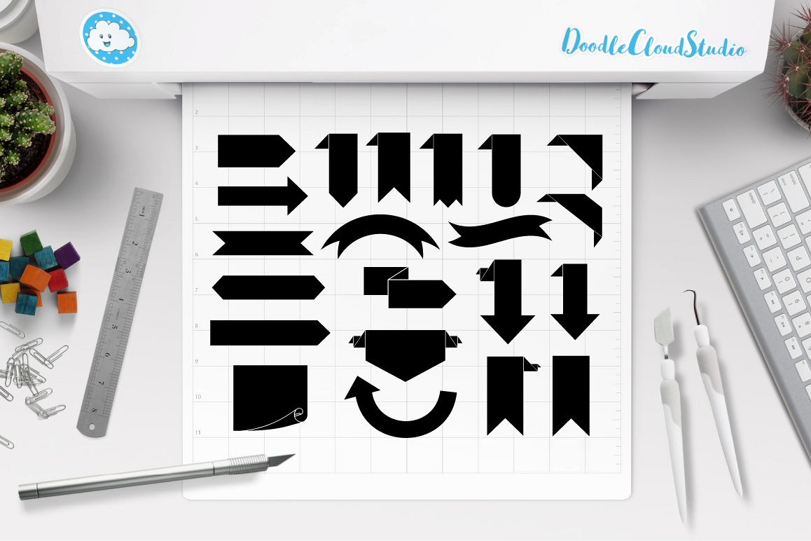 Bookmark Banner SVG, Ribbon banner svg files for Silhouette Cameo and Cricut. outline Banner clipart PNG included,  clipart PNG transparent example image 1