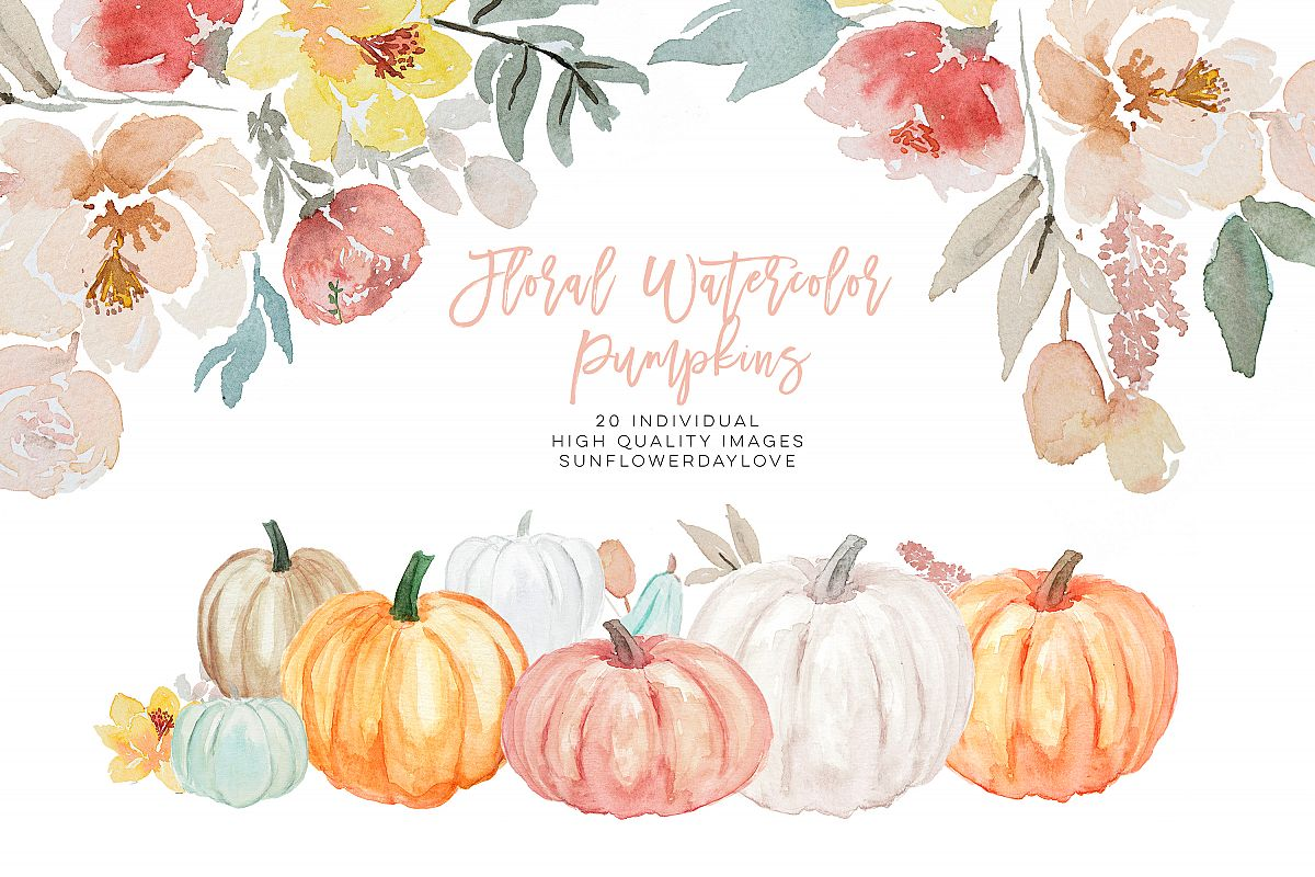 Pumpkin and Floral Watercolor fall clipart example image 1
