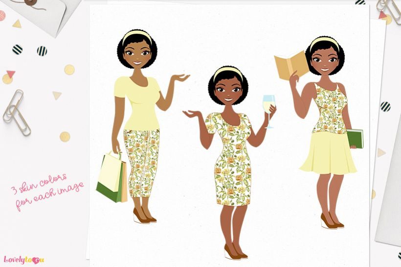 Woman lifestyle character clip art L096 Neve example image 1