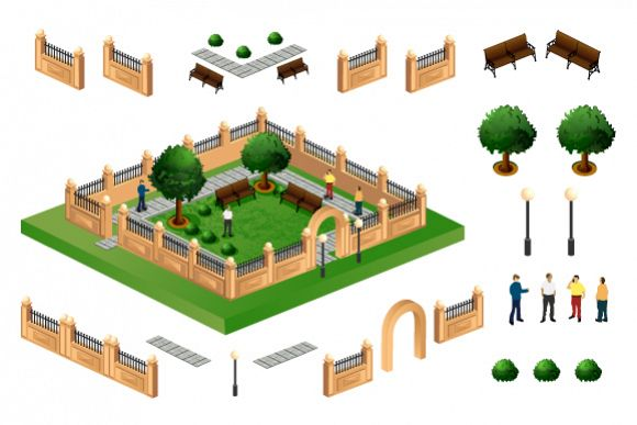 City park vector illustration example image 1