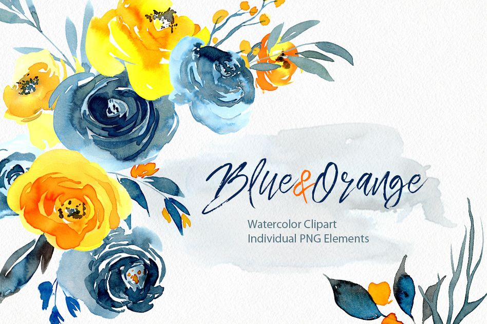 Watercolor Blue Orange Yellow Flowers Png