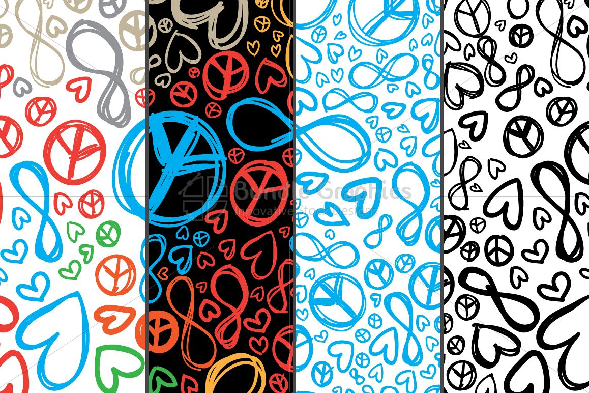 Love, Peace, Infinity - Colorful Pattern Set example image 1