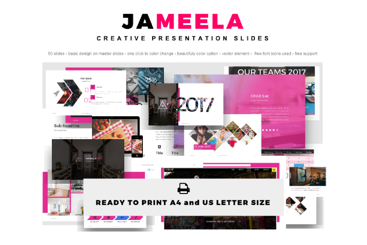 Jameela Beautiful Creative Presentation Slides Template example image 1