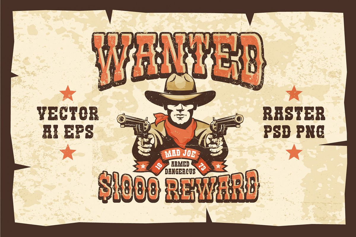 Wanted Wild West Cowboy 3 Posters example image 1