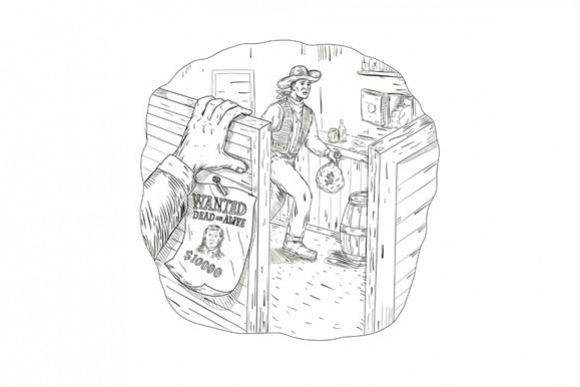 Cowboy Robbing Saloon Drawing example image 1