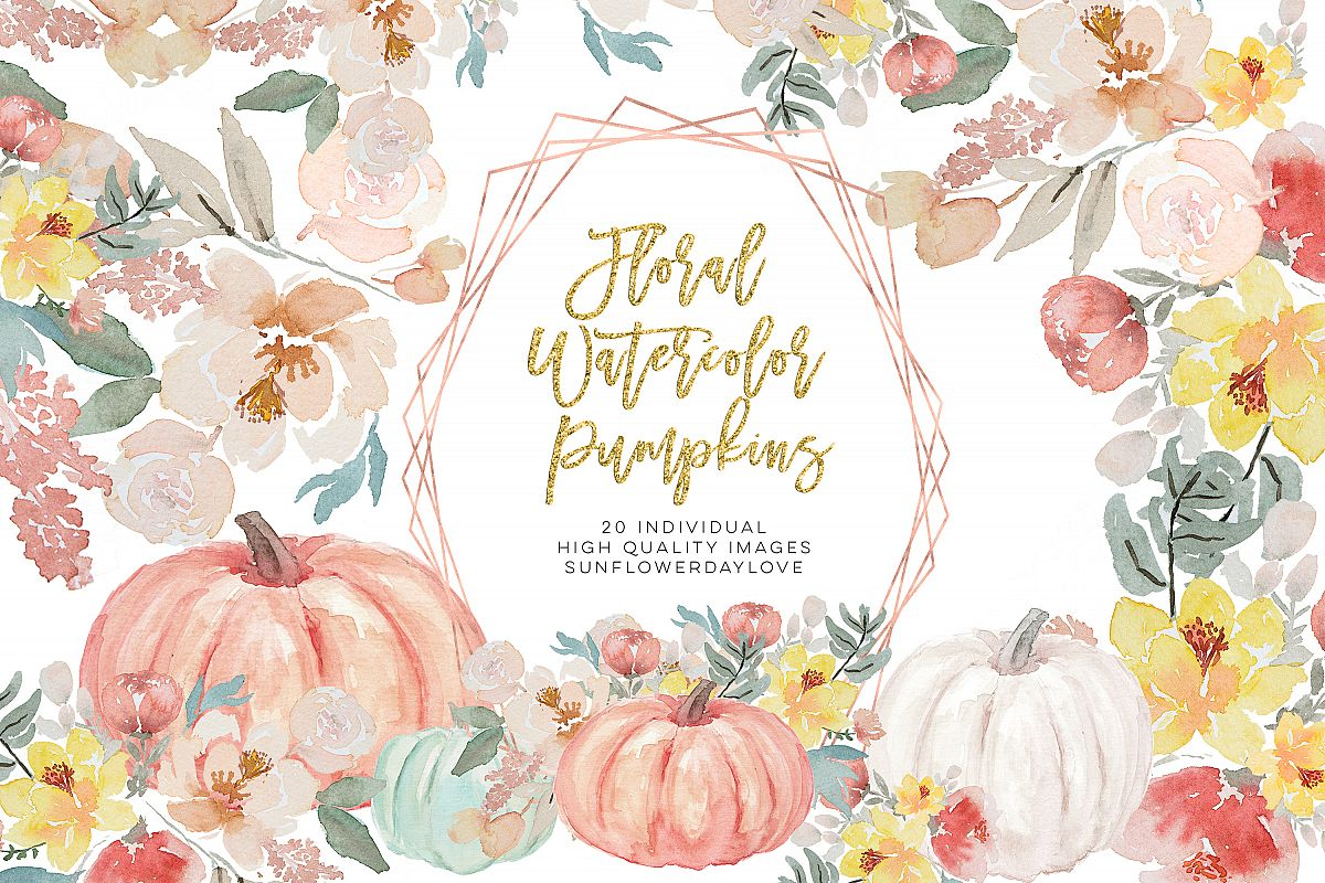 Autumn Watercolor Clipart, Fall Digital Download example image 1