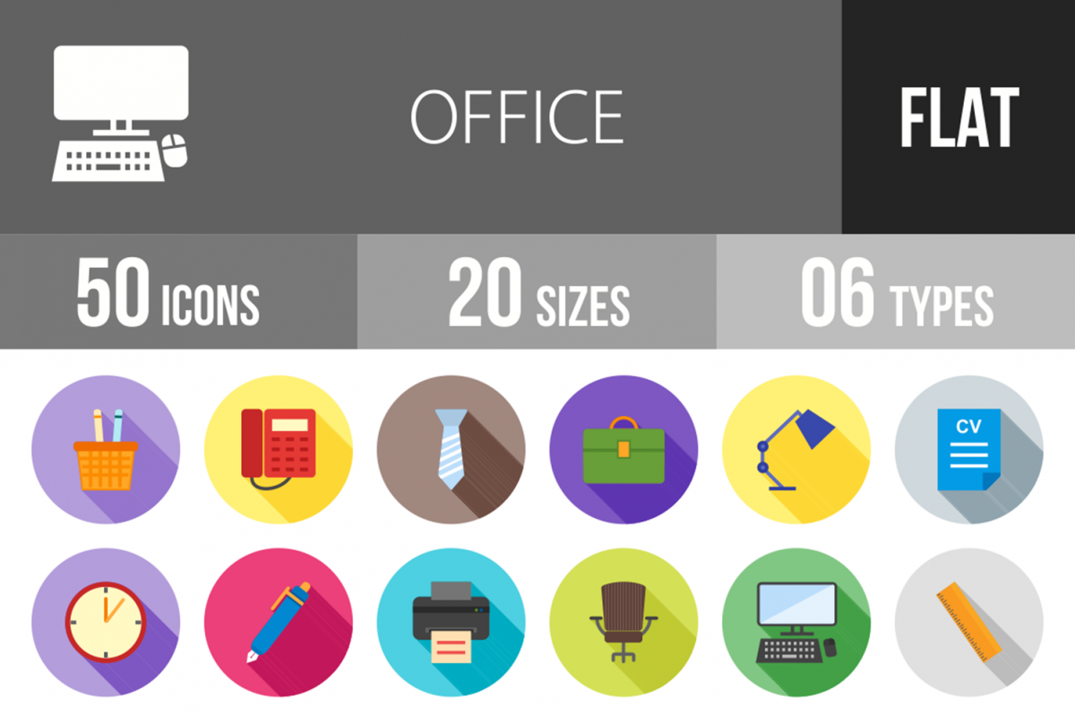 50 Office Flat Long Shadow Icons example image 1