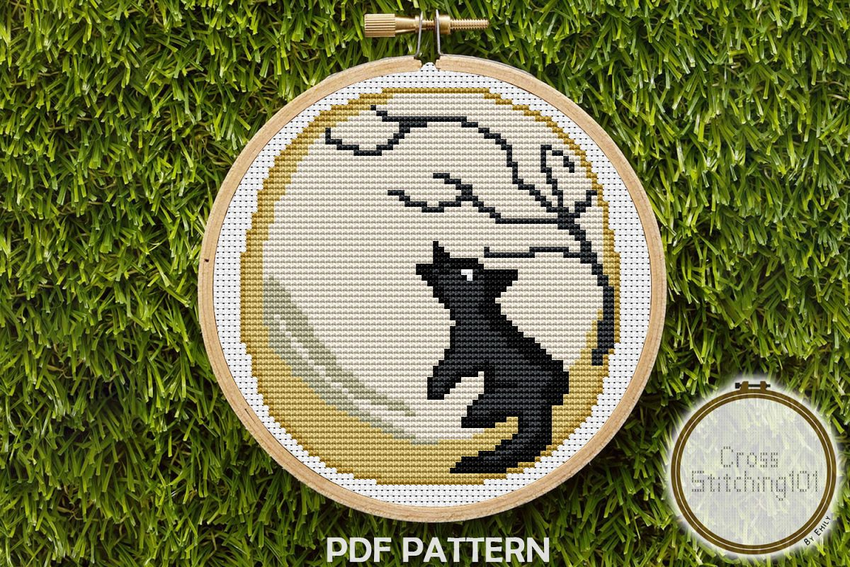 Wolf Howling at Moon Cross Stitch Pattern - Instant Download example image 1