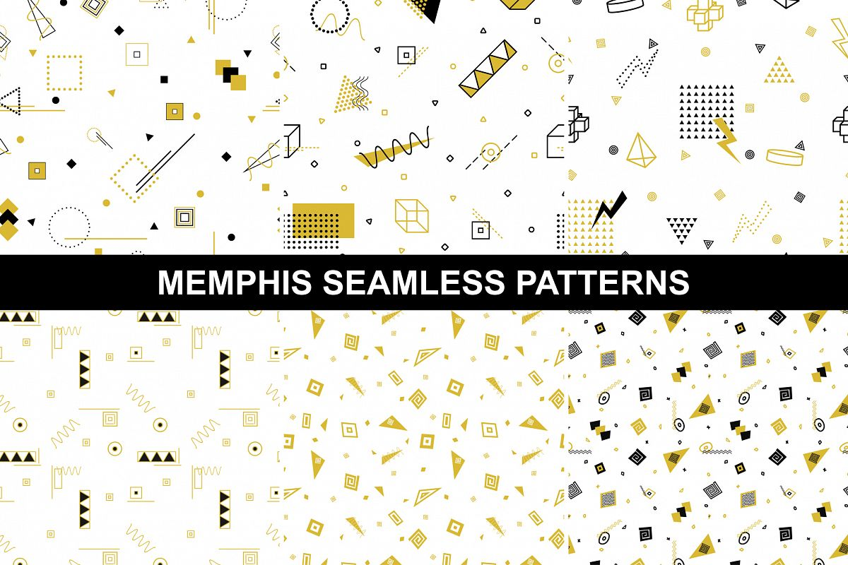 Geometric memphis patterns, seamless example image 1