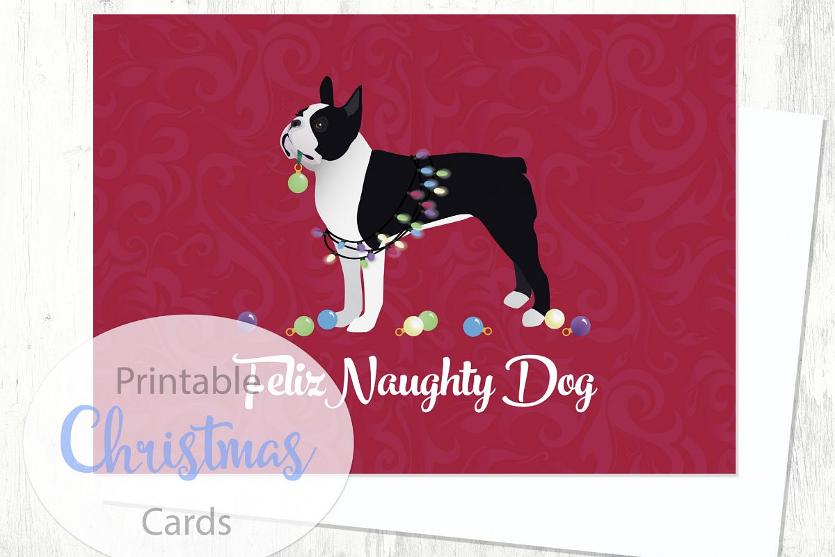 Boston Terrier - Black - Dog Christmas Card from the Breed ...