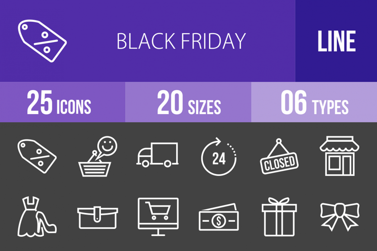 25 Black Friday Inverted Icons example image 1